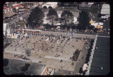 Aerial view of the Plaza of the States, Seattle World's Fair, 1962