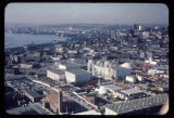 Aerial view, looking northwest, of the U.S. Science Pavilion and the Seattle World's Fair grounds,...