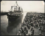 Crowd watching first sailing of steamship President Grant, Seattle, June 12, 1926