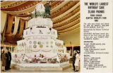 Postcard of Paul Bunyan's birthday cake display, Seattle World's Fair, 1962