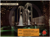 Sound postcard showing U.S. Science Pavilion at night, Seattle World's Fair, 1962