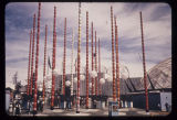Decorative poles and lamps at the South Entrance, Seattle World's Fair, 1962