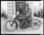 Soldier on a Harley-Davidson motorcycle, ca. 1918