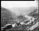 Automobiles crossing the Cascades through Stevens Pass, July 12,1925.