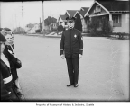 Police captain George Kimball with Junior Safety Patrols, Seattle, August 1931