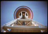 View of the Space Needle, looking up from the base, Seattle, 1962