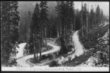 Hairpin curves on Sunset Highway near Snoqualmie Pass, ca. 1910s