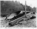 Showing construction of 78-inch wood stave pipeline, ca. 1926
