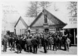 Group outside Skagway City Hall, possibly a meeting about gangster Soapy Smith, ca. 1898