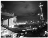 Night view of closing ceremonies and fireworks in Memorial Stadium, Seattle World's Fair, 1962