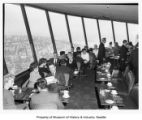 Seattle World's Fair employees attending a luncheon at the Space Needle before opening, 1962