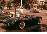 Alan C. Beall with his 1954 Austin Healy sports car, Seattle, 1957