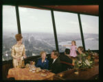 Diners at the Eye of the Needle restaurant at the top of the Space Needle, Seattle World's Fair,...