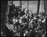Crowd alongside the ship St. Mihiel, bound for Matanuska, Alaska, 1935
