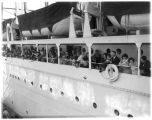 Matanuska colonists on board the St. Mihiel at Bell St. terminal, Seattle, 1935