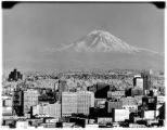 Mount Rainier from downtown Seattle, July 1960