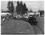 Safety patrol members on train at Playland Amusement Park, Bitter Lake, June 8, 1940