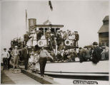 "Passengers on ferry ""Washington""  at dock, Golden Potlatch, Seattle, ca. 1913"