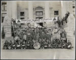 Tilikums of Eltteas and Tilikum Drum Corps on courthouse steps, Vancouver, British Columbia,  1912