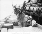 Arctic explorer Captain Robert H. Bartlett on deck of ship, probably in Seattle, 1928