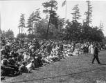"Spectators seated on lawn for the ""Pageant of Democracy"" performance in Woodland Park,..."