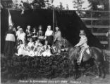 """Uncle Sam"" posed with performers from the ""Pageant of Democracy"" in Woodland..."