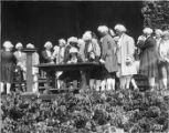 "Men in colonial period dress performing in the ""Pageant of Democracy,"" Woodland Park,..."