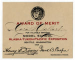 Cora Dollart's Award of Merit from the Alaska-Yukon Pacific-Exposition, Seattle, Washington, 1909