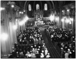 St. James Cathedral interior during a service, Seattle, 1935