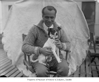 Aviator Umberto Nobile with his dog Titiana, Seattle, June 27, 1926