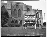 St. Mark's Episcopal Cathedral, with For Sale sign, Seattle, 1941