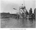 Diving from platform at Green Lake, Seattle, 1941