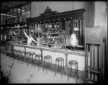 Soda fountain at Shaw's Pharmacy, ca. 1905
