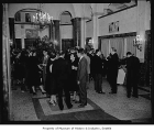 Moore Theatre interior showing people in the lobby at a production of 'The Pajama Game,' Seattle,...