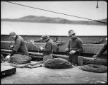Halibut fishermen preparing longlines, ca. 1909