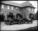 Fire engines in front of Fire Station No. 25, 1912