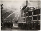 Firemen fighting the Grand Trunk Pacific Dock fire, July 30, 1914
