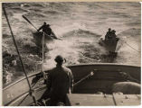 Halibut fishing, dories under tow, ca. 1920