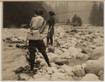 Women fly fishing at Mount Rainier National Park, 1922