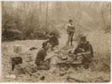 Fly fishermen at a campfire, ca. 1906