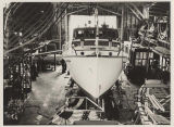 Yacht Sea Rest on launch day at Blanchard Boat Company, 1939