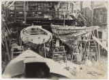 Two sailboats under construction at Blanchard Boat Co., 1937