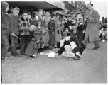 Children and a rabbit at the Renton Rabbit Race, March 23, 1956