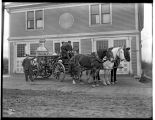 Steam pumper and horse team in front of Fire Station No. 7 , ca. 1898
