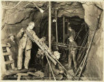 Men drilling in the new Cascade Tunnel, 1927