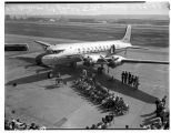 Ceremonies for Northwest Airlines' first flight to Asia, April 14, 1947