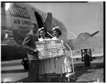 Flight attendants and anniversary letter, October 1944