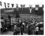 Gov. Rosellini speaking at opening of Hood Canal Bridge, 1961