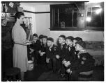 Den mother leading a Cub Scout meeting, October  1948