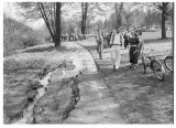 Crack in pathway at Green Lake from 1949 earthquake, April 13, 1949